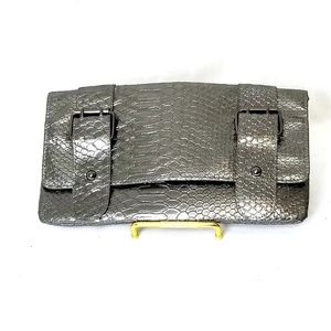 Style & Co silver clutch Handbag Croc embossed